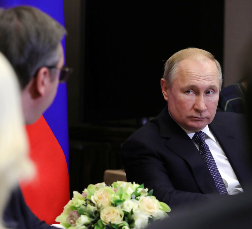 Russian President Putin meets with his Serbian counterpart Vucic in Sochi