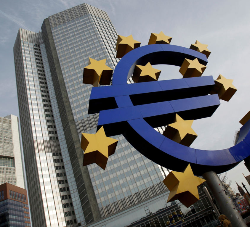 FILE PHOTO: A sculpture showing the Euro currency sign is seen in front of the ECB headquarters in Frankfurt