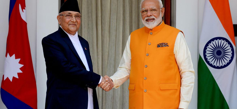 Prime Minister Narendra Modi meets Prime Minister of Nepal K.P. Sharma Oli at Hyderabad House in New Delhi