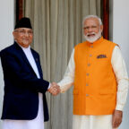 New Delhi, May 31 (ANI): Prime Minister Narendra Modi meets Prime Minister of Nepal K.P. Sharma Oli at Hyderabad House in New Delhi on Friday. (ANI Photo/R. Raveendran)