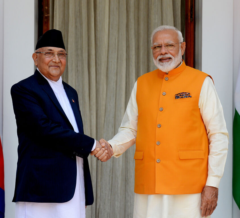 Prime Minister Narendra Modi meets Prime Minister of Nepal K.P. Sharma Oli at Hyderabad House in New Delhi